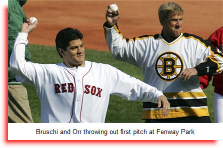 Tedy Bruschi and Bobby Orr throw out first pitch at Fenway Park